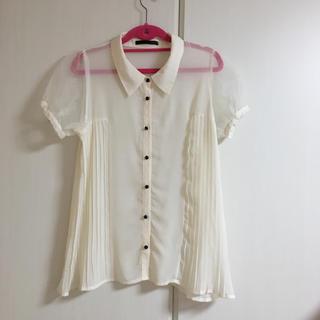 ヘザー(heather)の半袖 ブラウス トップス シャツ シースルー 白(シャツ/ブラウス(半袖/袖なし))