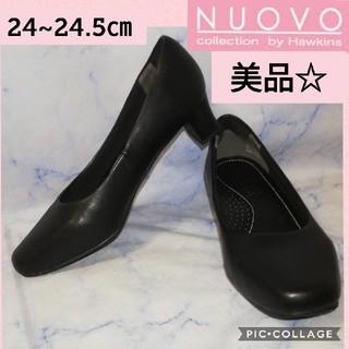 ヌォーボ(Nuovo)のヌォーボ ラウンドトゥ パンプス ブラック24㎝(ハイヒール/パンプス)