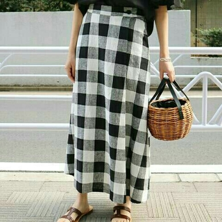 IENA SLOBE - SLOBE IENAリネン混ロング巻き風スカート