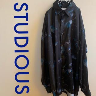 STUDIOUS - STUDIOUS 花柄 ダークパピービッグシルエット シャツ サイズ2 ブルー