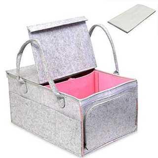 ピンクShufudea オムツストッカー 蓋つき 大容量 オムツ40枚収納可 多(ベビーおむつバッグ)