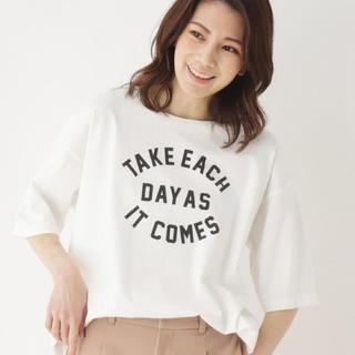 サンカンシオン(3can4on)の美品 【3can4on】 USAコットンゆるロゴTシャツ(Tシャツ(半袖/袖なし))