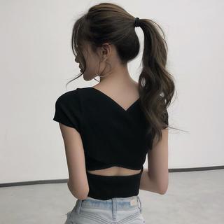 Lily Brown - バッククロスデザイントップス(ブラック)韓国