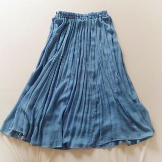 しまむら - しまむら ロングスカート マキシスカート ブルー 水色 ふんわり 裏地付