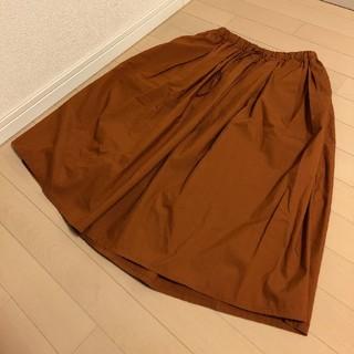 ムジルシリョウヒン(MUJI (無印良品))の無印良品 綿混ダンプイージーギャザースカート 婦人M・ダークオレンジ(ひざ丈スカート)