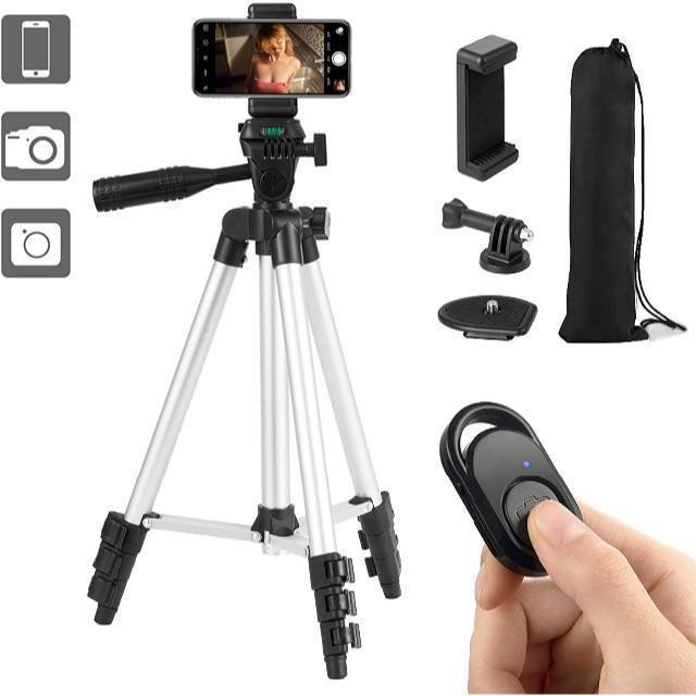 スマホ三脚 スマートフォン対応三脚 ビデオカメラ三脚 106cm(42インチ)  スマホ/家電/カメラのスマートフォン/携帯電話(携帯電話本体)の商品写真