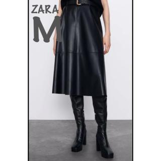 ZARA - 【新品・未使用】ZARA レザー風 ベルト付き ミディ丈 スカート M