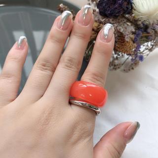 カスタネ(Kastane)のSALE!【CRG-6B】half clear ring-orange-(リング(指輪))