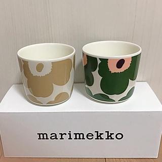 marimekko - マリメッコ ラテマグ ベージュ グリーン×ピーチ