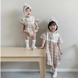ザラキッズ(ZARA KIDS)の韓国子供服 ロンパース ワンピース 韓国ベビー服 チェック(ワンピース)