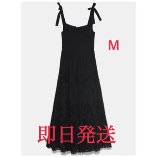ZARA - 刺繍入りロングワンピース Mサイズ