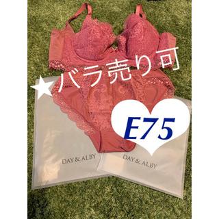 【新品】DAY&ALBY  丸盛りブラ&ショーツ E75  ローズピンク(ブラ&ショーツセット)