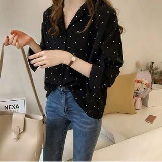 ZARA - 韓国ファッション Vネックブラウス ドットブラウス ドットシャツ 水玉模様