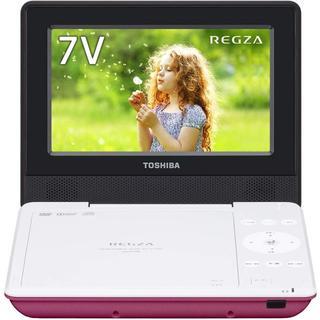 トウシバ(東芝)の東芝 ポータブルDVDプレーヤー REGZA ピンク SDP710SP(DVDプレーヤー)