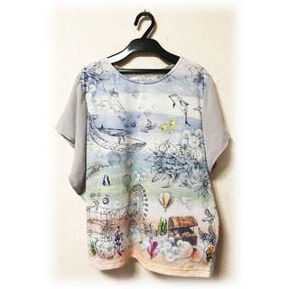 スカラー(ScoLar)のiS ScoLar イズスカラー 異素材 カットソー Tシャツ 海中 遊園地 M(Tシャツ(半袖/袖なし))