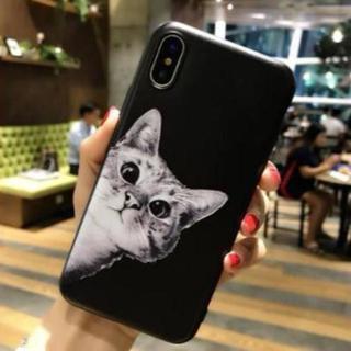 【iphone7/8対応】猫ちゃん柄 可愛い TPUケース 柔らかい 【黒】