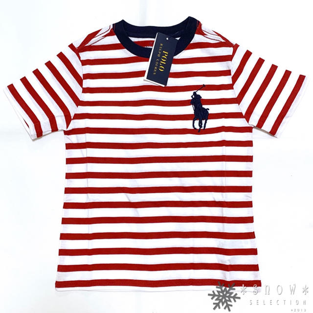 POLO RALPH LAUREN(ポロラルフローレン)の新品 ラルフローレン 5/115 レッド ビッグポニー ストライプTシャツ キッズ/ベビー/マタニティのキッズ服男の子用(90cm~)(Tシャツ/カットソー)の商品写真