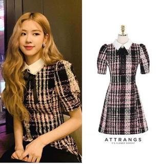 BLACKPINK ローゼちゃんのツイード ワンピース / 韓国ファッション(ミニワンピース)