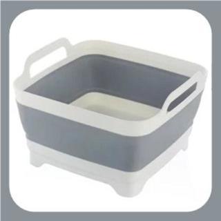 《グレー》洗い桶 たためる キッチン ソフト まな板 食器かご
