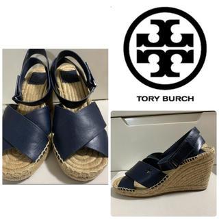 Tory Burch - トリーバーチ ネイビーレザー サンダル