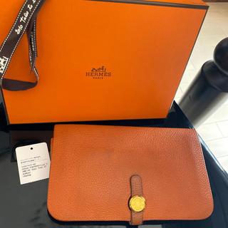 Hermes - 直営店購入 エルメス ドゴン GM 財布 used オレンジ ベアン 箱付き