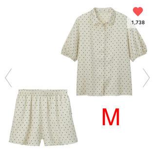 GU - gu ジーユー サテンパジャマ 半袖&ショートパンツ ドット M 新品未使用