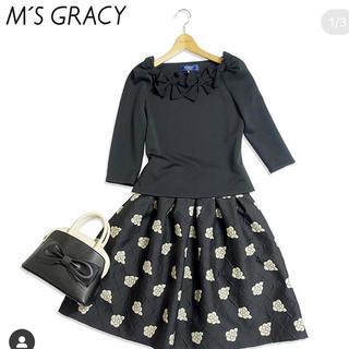 M'S GRACY - エムズグレイシー2019Autumnカメリア柄スカート 黒 40