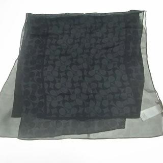 コーチ(COACH)のコーチ スカーフ美品  シグネチャー柄 黒(バンダナ/スカーフ)