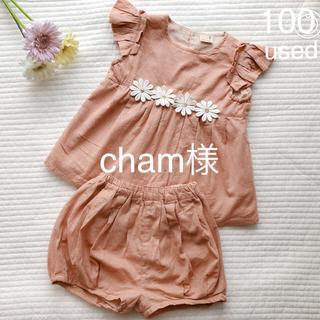 プティマイン(petit main)のused♡プティマイン お花モチーフセットアップ(Tシャツ/カットソー)