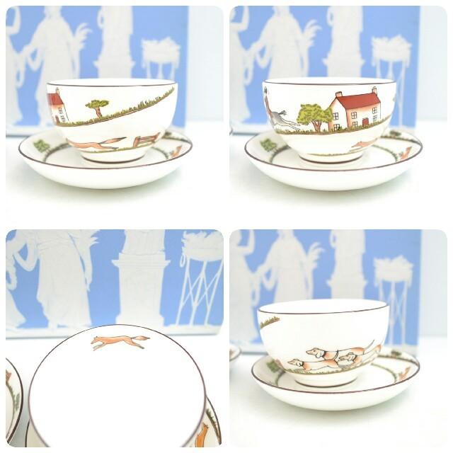 WEDGWOOD(ウェッジウッド)の【未使用】ウェッジウッド ハンティングシーン ジャパニーズティーカップ2客セット インテリア/住まい/日用品のキッチン/食器(グラス/カップ)の商品写真