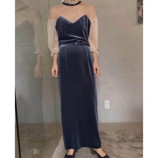 Ameri VINTAGE(アメリヴィンテージ)のTULLE SLEEVE TIGHT アメリヴィンテージ 結婚式 レディースのワンピース(ロングワンピース/マキシワンピース)の商品写真