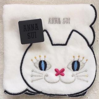 ANNA SUI - 新品☆アナスイ タオルハンカチ ドアップねこ ホワイト