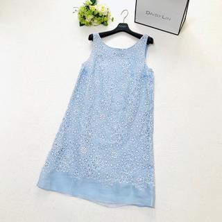 PRADA - 美品 プラダ PRADA 美しい花柄 刺繍 ライトブルー ワンピース