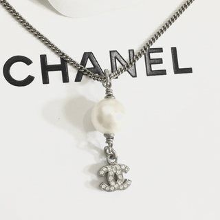 CHANEL - 正規品 シャネル ネックレス パール シルバー ラインストーン ココマーク 真珠