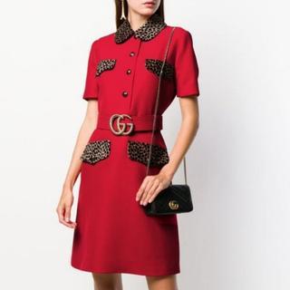 グッチ(Gucci)の新作 GUCCI グッチ レオパード ベルテッド ドレス(ひざ丈ワンピース)