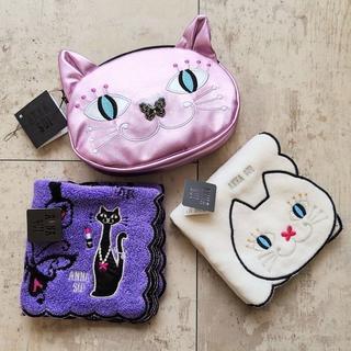 ANNA SUI - 未使用 アナスイ ☆ 猫型ポーチ × タオルハンカチ2枚 セット ネコ