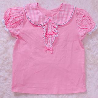 Shirley Temple - シャーリーテンプル ギンガムリボンTシャツ110ピンク