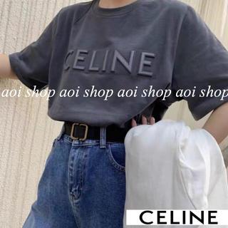CELINE ロゴ Tシャツ 刺繍 立体 チャコールグレー XL