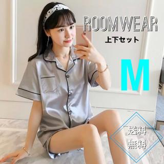 【値下げ】ルームウェア パジャマ 韓国 サテン 半袖 グレー M