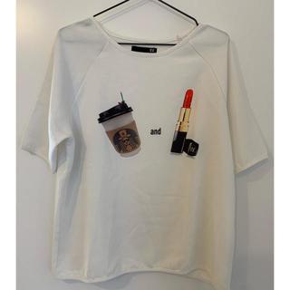 ZARA - スタバ風xリッププリント Tシャツ