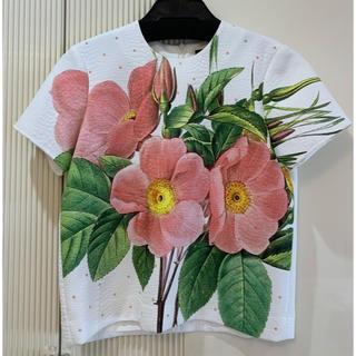 ドゥロワー(Drawer)の着用1度のみ AKIRA NAKA フラワープリントジャガードトップス(シャツ/ブラウス(半袖/袖なし))