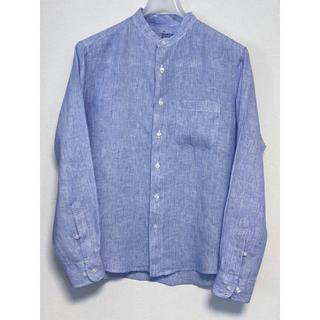 ムジルシリョウヒン(MUJI (無印良品))の無印良品 麻 スタンドカラーシャツ ブルーストライプ Mサイズ(シャツ)