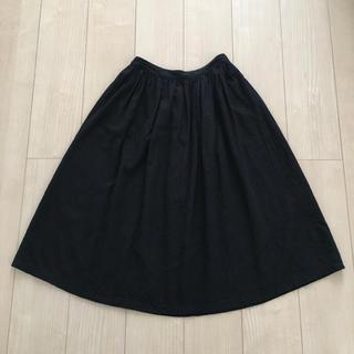 エヘカソポ(ehka sopo)のエヘカ ソポ 麻タックスカート ブラック M(ひざ丈スカート)