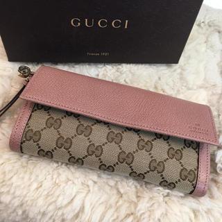 Gucci - ☆新品☆グッチ 2つ折り長財布 キ♤ャン❥バスxレザー