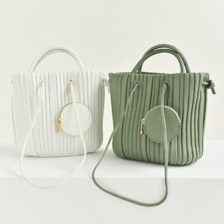 しまむら - MUMU 7color◆コインケース付2wayプリーツドローストリングバッグ