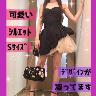 リリーブラウン(Lily Brown)の黒×オフホワイト♡オーガンジーフレアドレス(ミニワンピース)