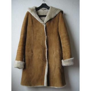 アナイ(ANAYI)のアナイ ANAYI ムートンフードコート サイズ38 キャメル 羊革(毛皮/ファーコート)