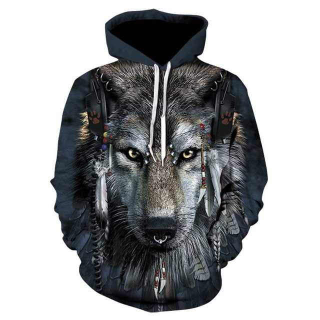 『デジタルプリントパーカー』【狼】 メンズのトップス(パーカー)の商品写真