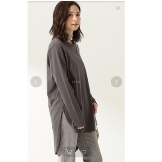 デミルクスビームス(Demi-Luxe BEAMS)のaton スビン ラウンドヘムロングスリーブtシャツ(カットソー(長袖/七分))