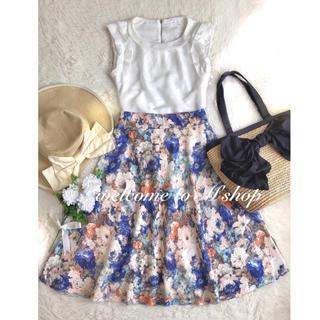 INDEX - コーデセット ♡ 肩フリルブラウス+フラワースカート ♡ 花柄